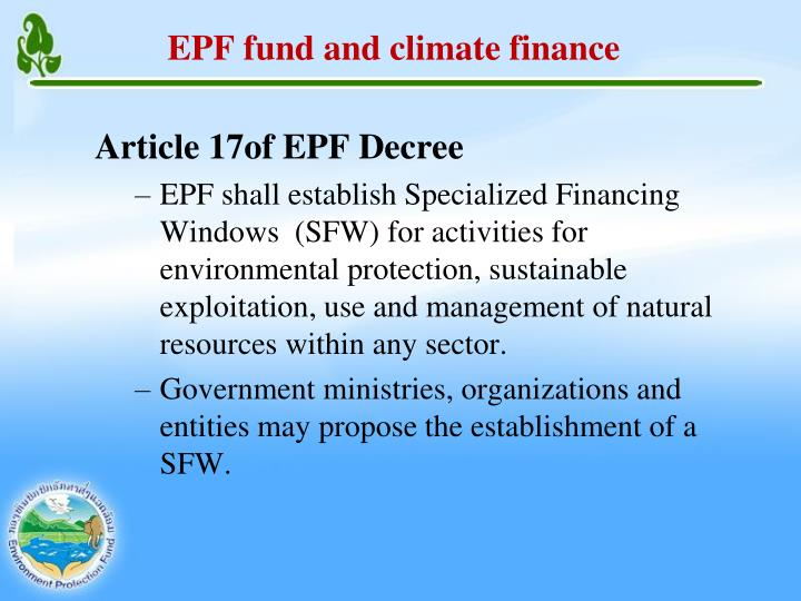 EPF fund and climate finance