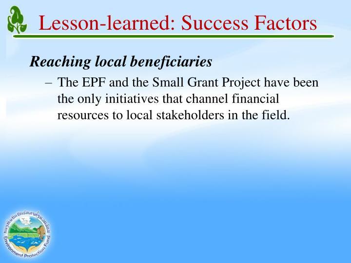 Lesson-learned: Success Factors
