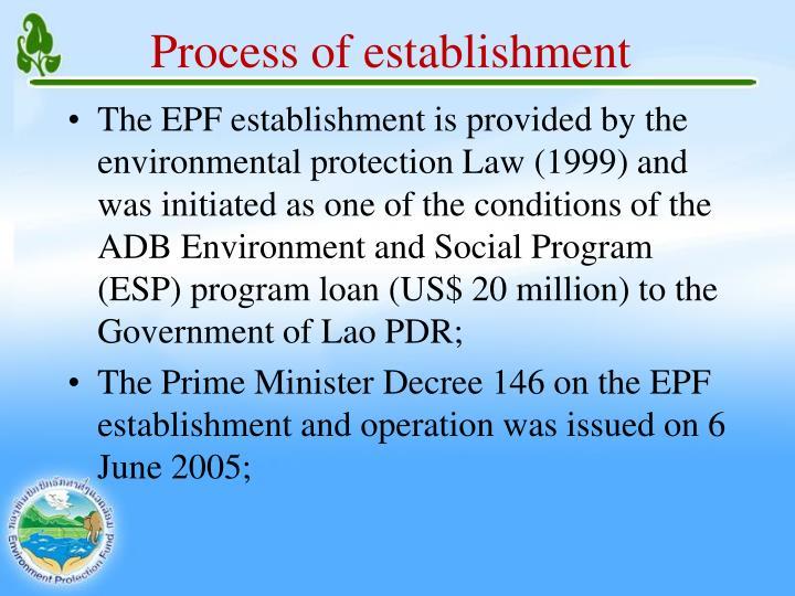 Process of establishment
