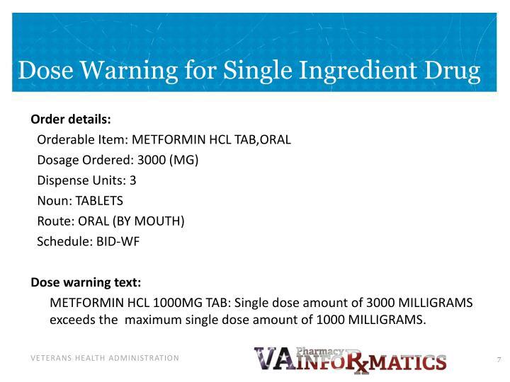 Dose Warning for Single Ingredient Drug
