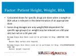 factor patient height weight bsa