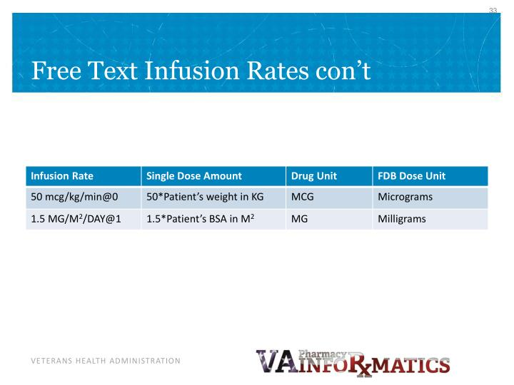 Free Text Infusion Rates con't