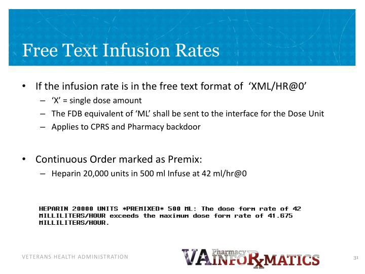 Free Text Infusion Rates