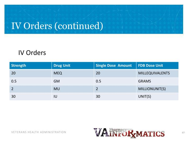 IV Orders (continued)