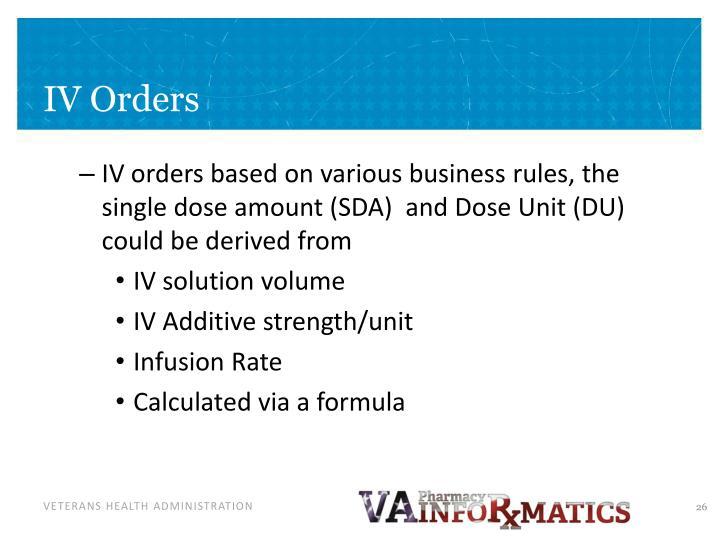 IV Orders