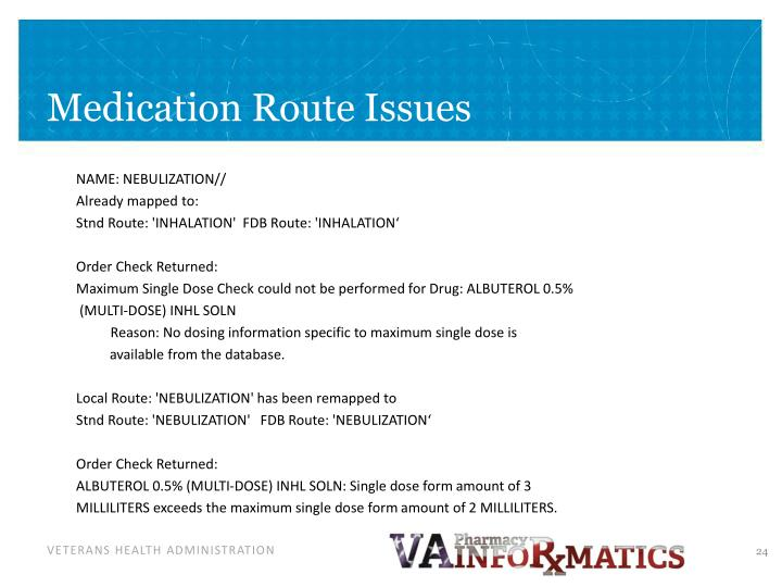 Medication Route Issues