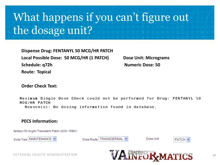 What happens if you can't figure out the dosage unit?