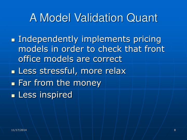 A Model Validation Quant