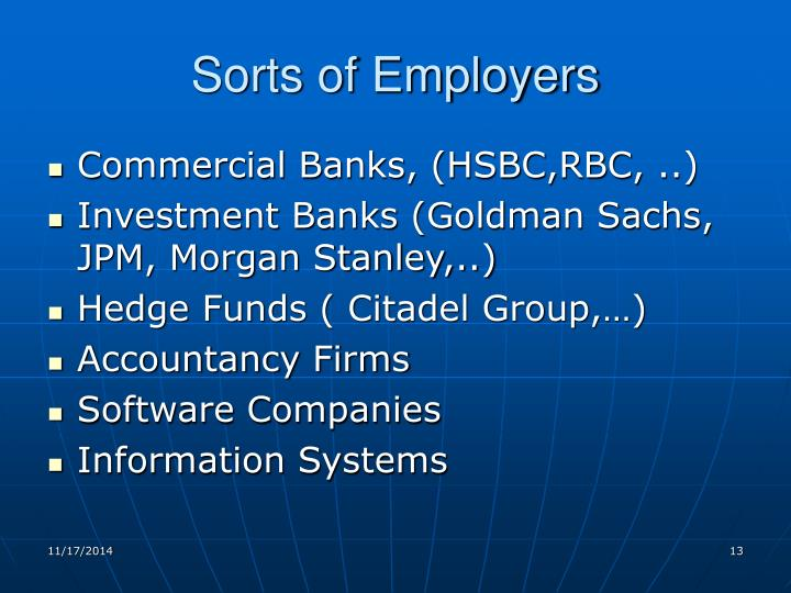 Sorts of Employers
