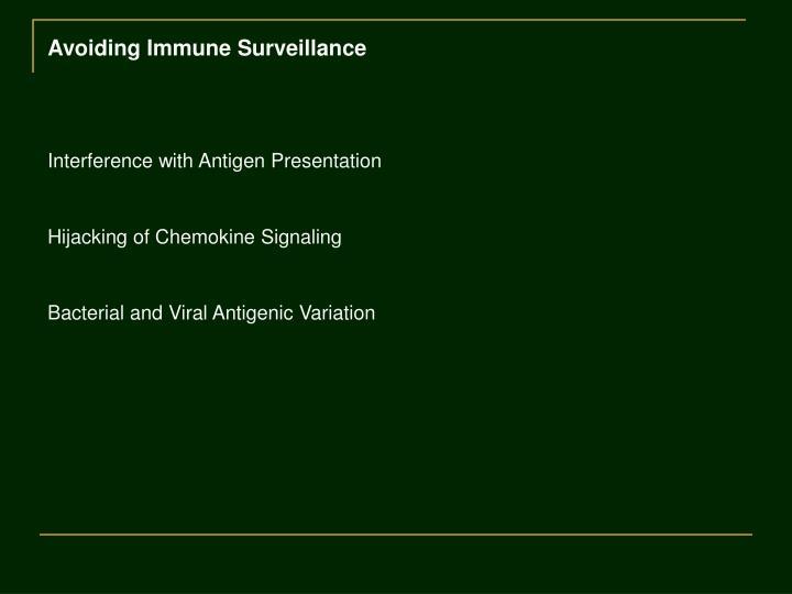 Avoiding Immune Surveillance