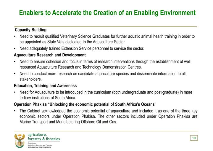 Enablers to Accelerate the Creation of an Enabling Environment
