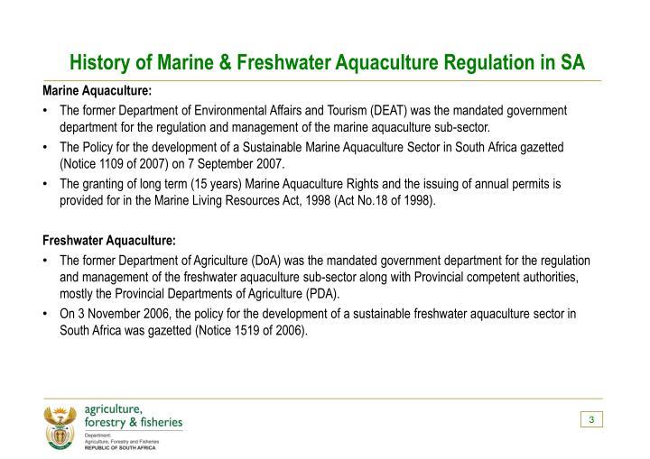 History of Marine & Freshwater Aquaculture Regulation in SA