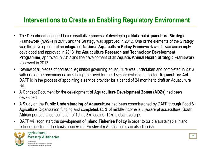 Interventions to Create an Enabling Regulatory Environment