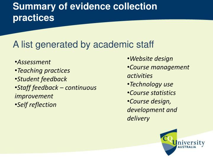 Summary of evidence collection practices