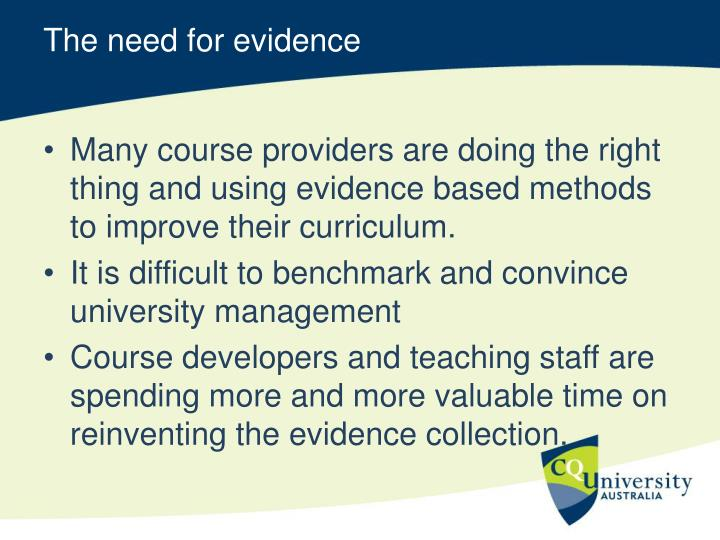 The need for evidence