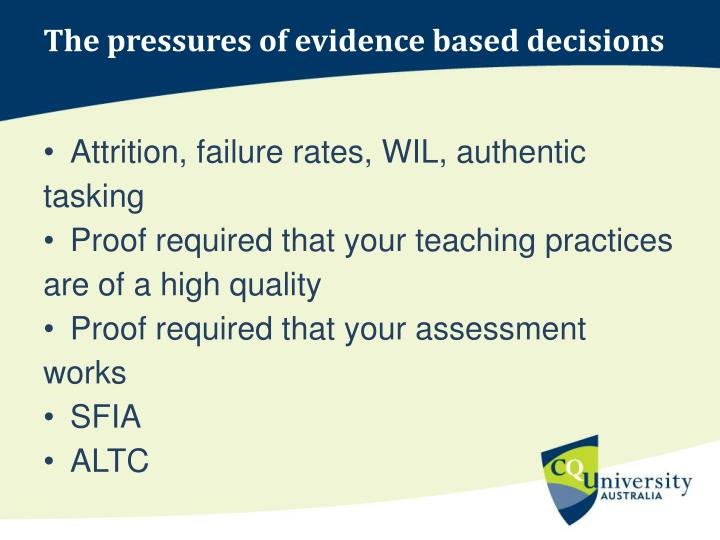 The pressures of evidence based decisions