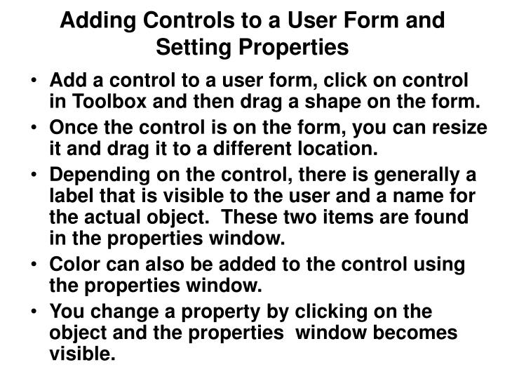 Adding Controls to a User Form and Setting Properties