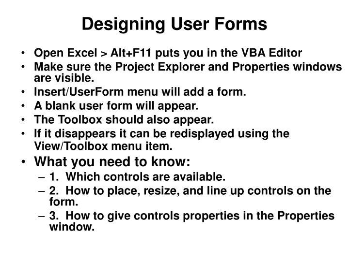 Designing User Forms
