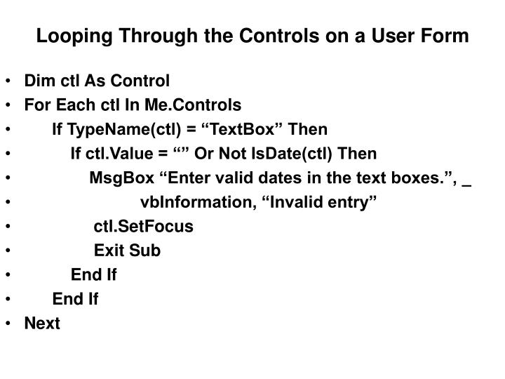 Looping Through the Controls on a User Form