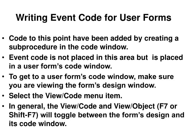 Writing Event Code for User Forms