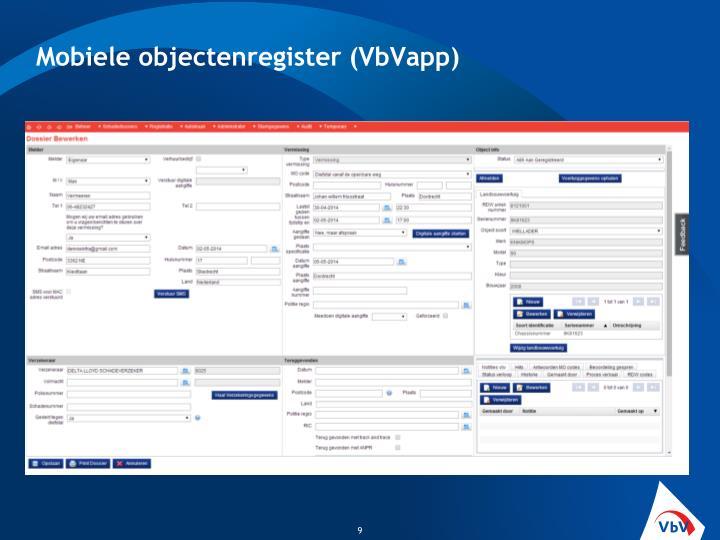 Mobiele objectenregister (VbVapp)