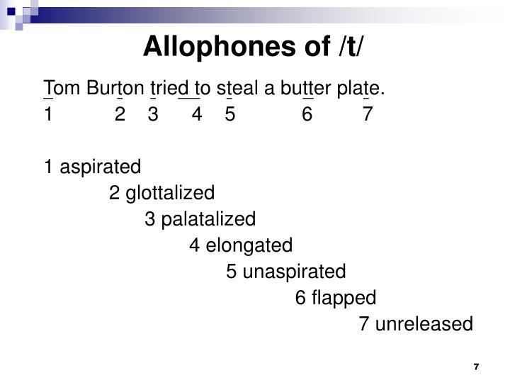 Allophones of /t/