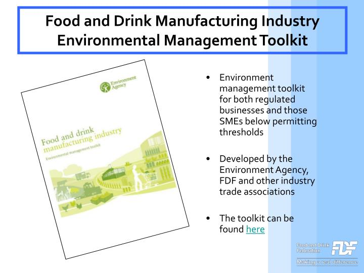 Food and Drink Manufacturing Industry Environmental Management Toolkit