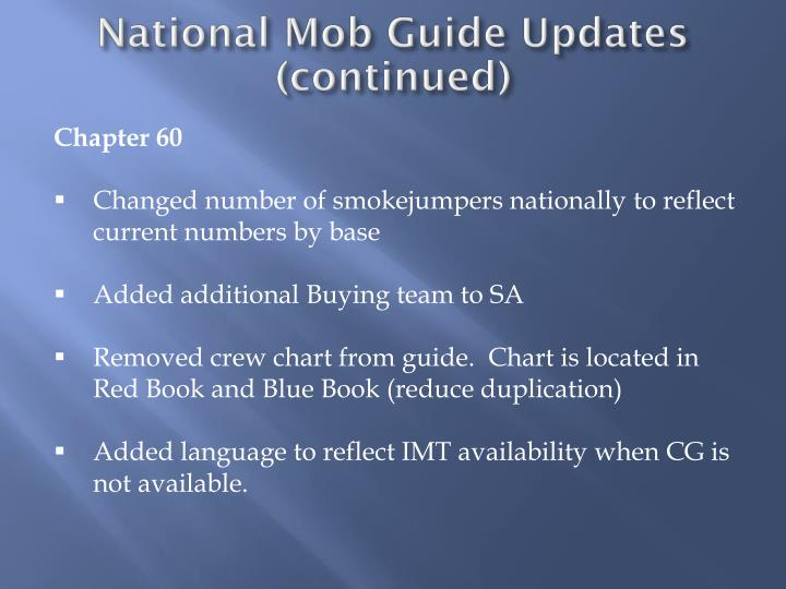 National Mob Guide Updates