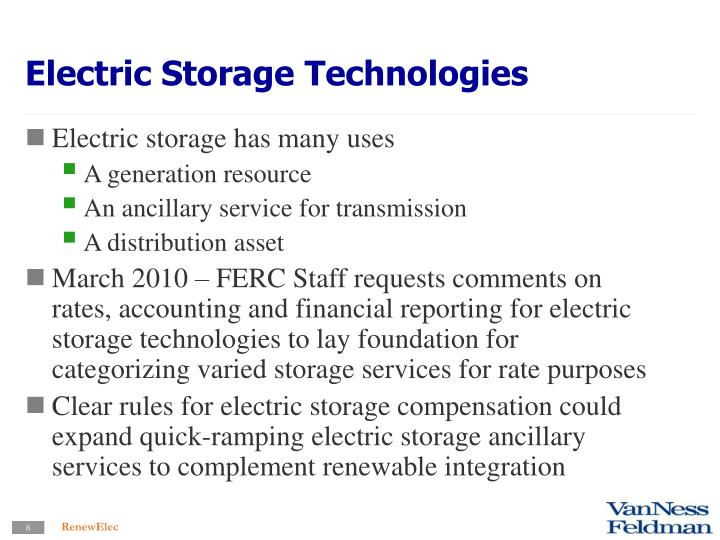 Electric Storage Technologies