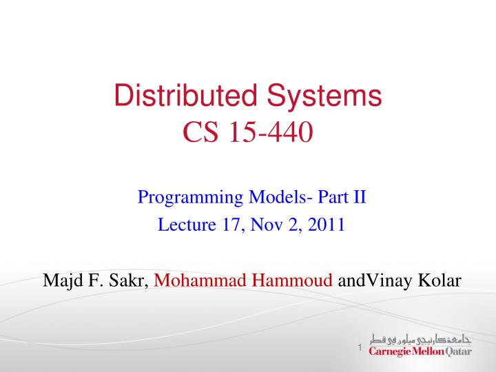 distributed systems cs 15 440