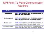 mpi point to point communication routines