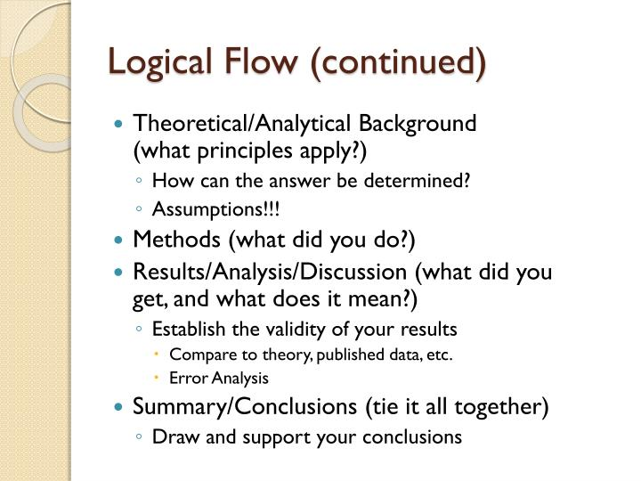 Logical Flow (continued)