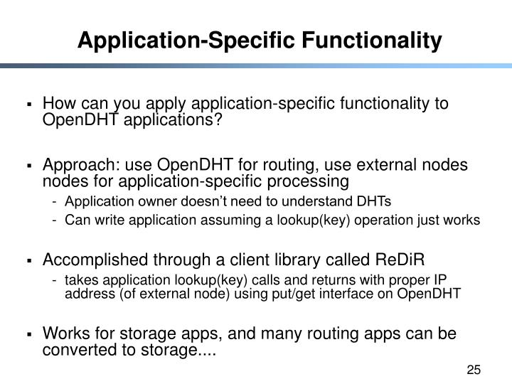 Application-Specific Functionality
