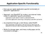 application specific functionality