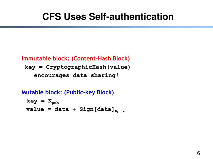 CFS Uses Self-authentication