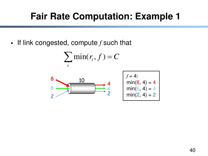 Fair Rate Computation: Example 1