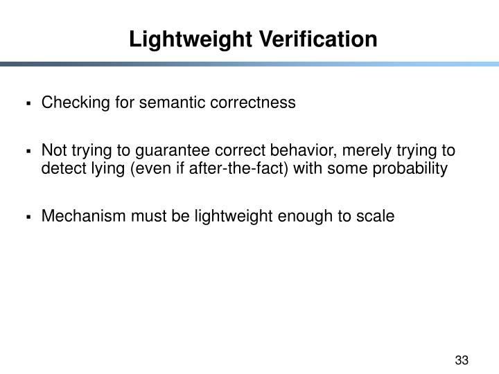 Lightweight Verification