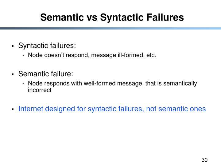 Semantic vs Syntactic Failures