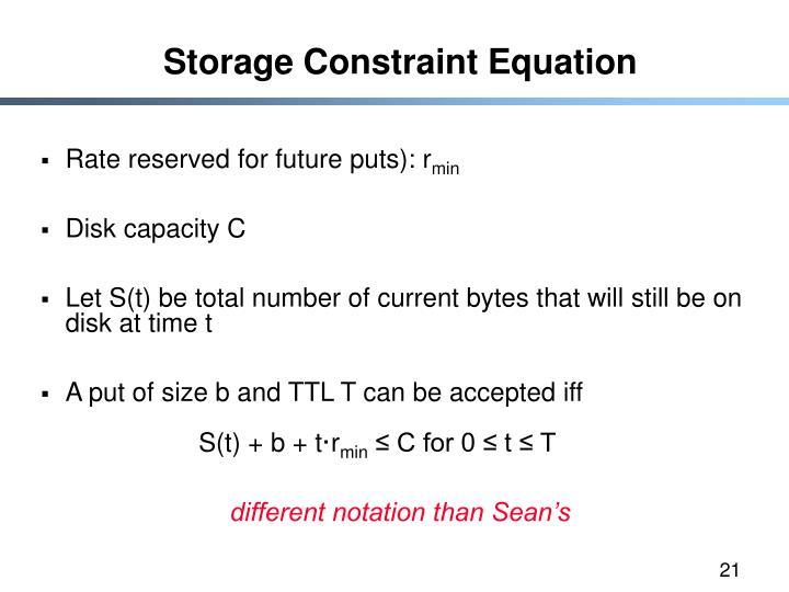 Storage Constraint Equation