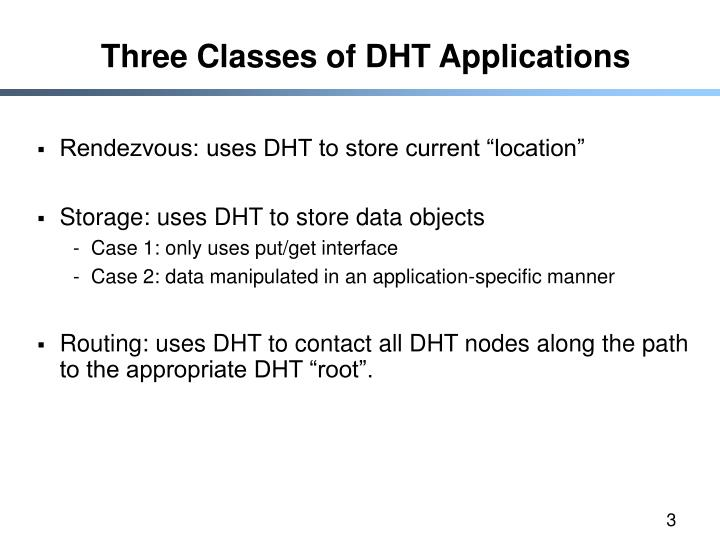 Three Classes of DHT Applications