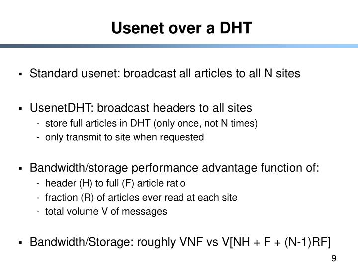 Usenet over a DHT