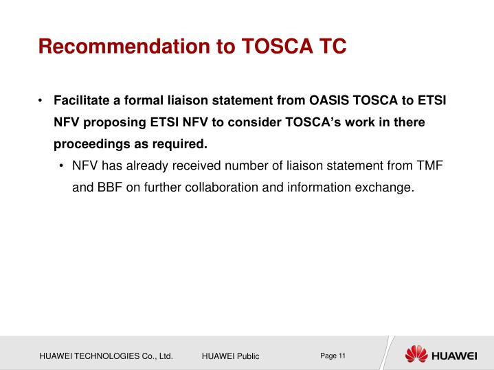 Recommendation to TOSCA TC