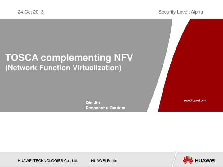 TOSCA complementing NFV