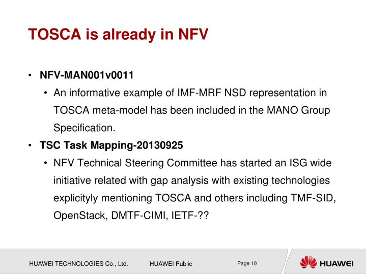 TOSCA is already in NFV