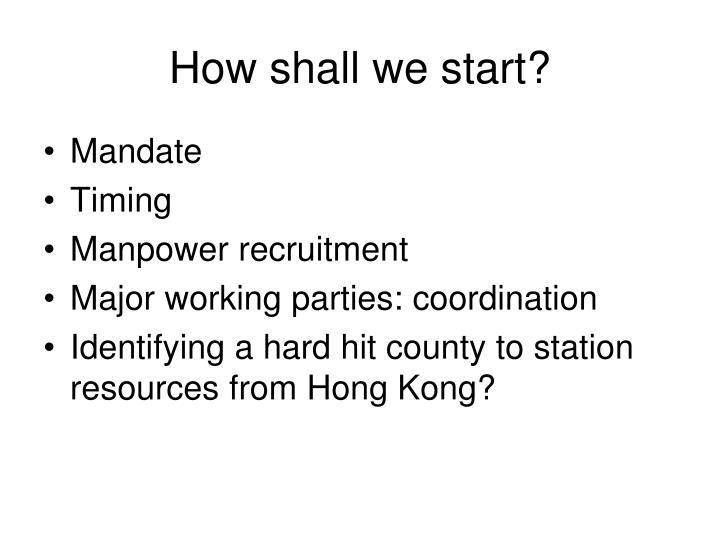How shall we start?