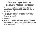 role and capacity of the hong kong medical profession