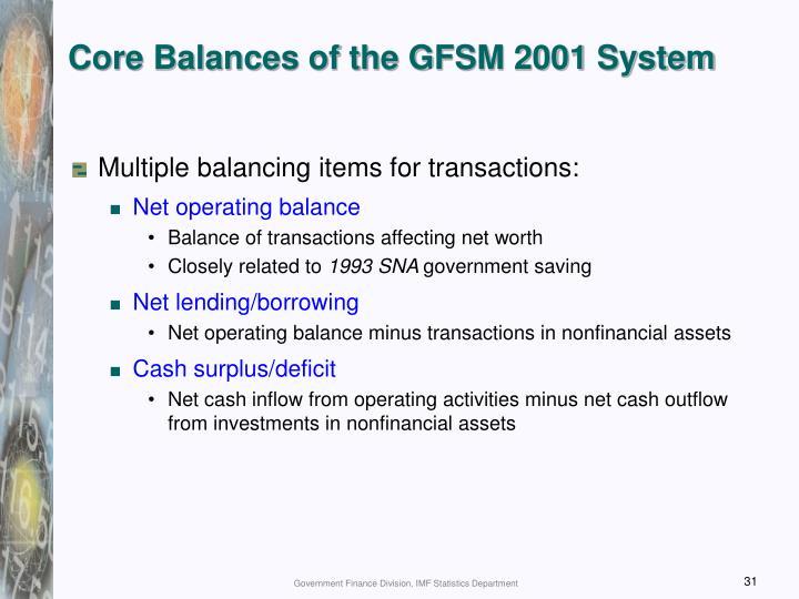 Core Balances of the GFSM 2001 System