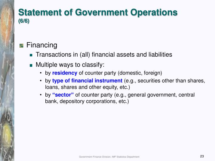 Statement of Government Operations