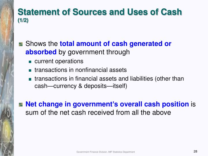 Statement of Sources and Uses of Cash