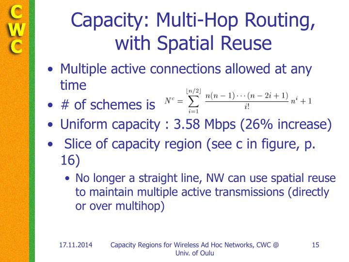 Capacity: Multi-Hop Routing,